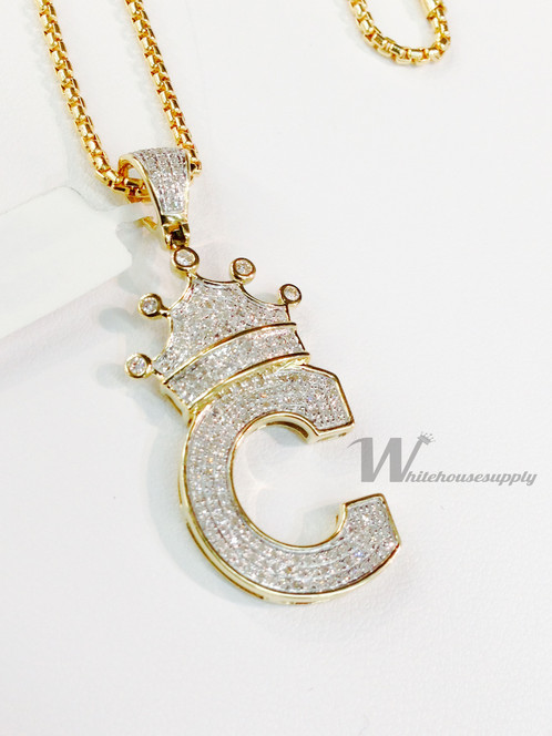 Diamond letter pendant with crown and italian chain c diamond letter pendant with crown and italian chain c aloadofball Choice Image