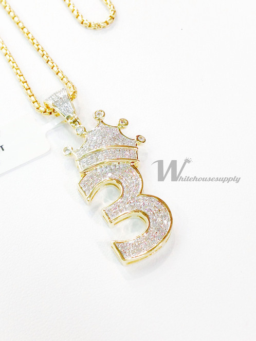 Diamond number 3 pendant with crown and italian chain diamond number 3 pendant with crown and italian chain mozeypictures Images