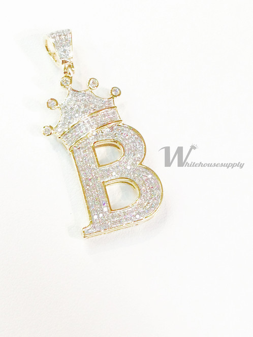 gold pendant now sale diamonds initial white diamond b necklace majesty letter ctw script in