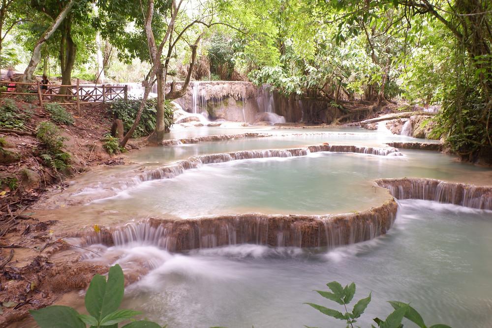 Blue pools of the Kuang Si Waterfalls