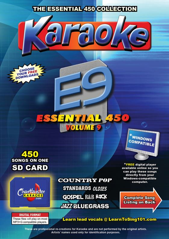 Chartbuster Karaoke Essential Pack Volume 09 - 450 MP3G Songs on SD Card
