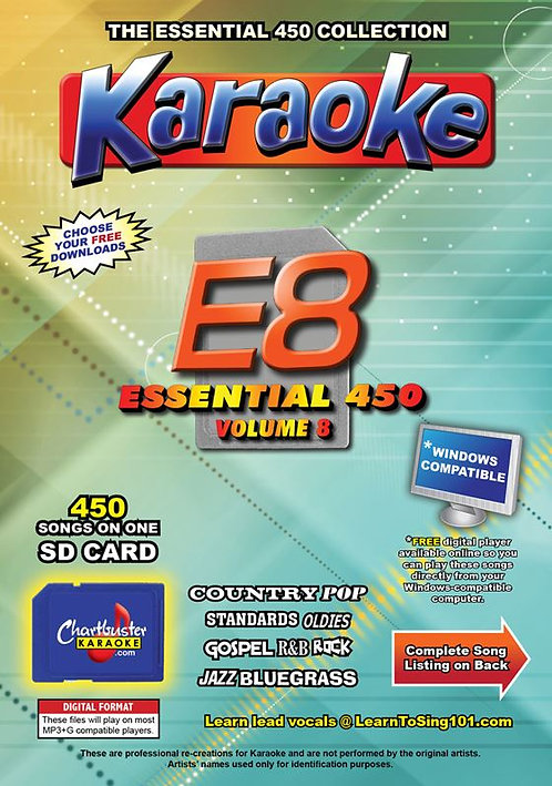 Chartbuster Karaoke Essential Pack Volume 08 - 450 MP3G Songs on SD Card