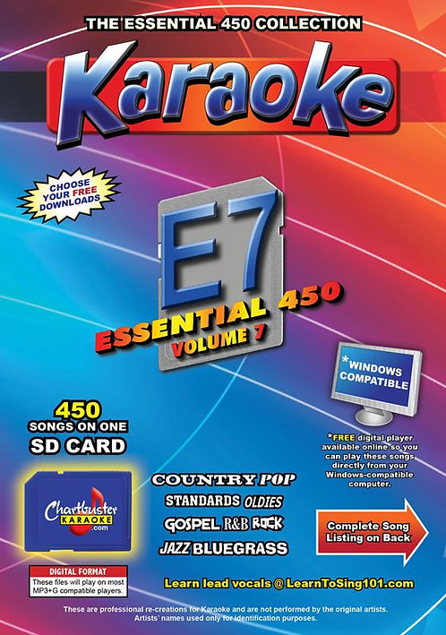 Chartbuster Karaoke Essential Pack Volume 07 - 450 MP3G Songs on SD Card