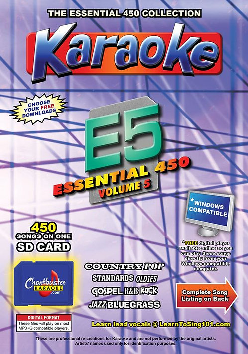 Chartbuster Karaoke Essential Pack Volume 05 - 450 MP3G Songs on SD Card
