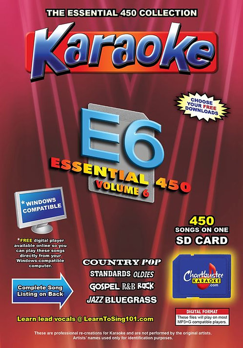 Chartbuster Karaoke Essential Pack Volume 06 - 450 MP3G Songs on SD Card