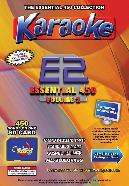 Chartbuster Karaoke Essential Pack Volume 02 - 450 MP3G Songs on SD Card
