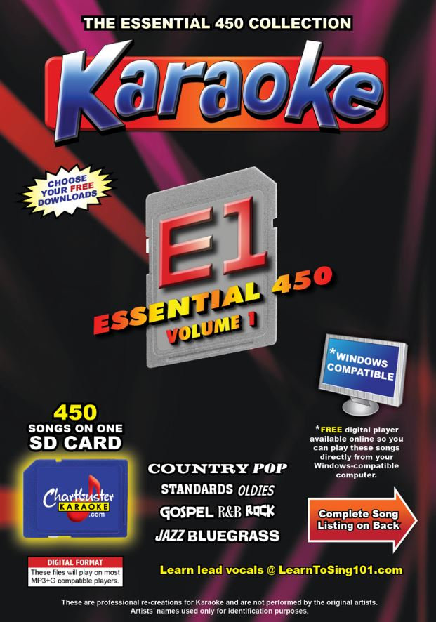 Chartbuster Karaoke Essential Pack Volume 01 - 450 MP3G Songs on SD Card