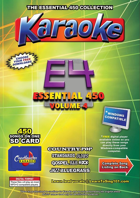 Chartbuster Karaoke Essential Pack Volume 04 - 450 MP3G Songs on SD Card