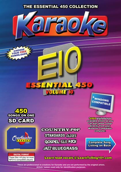 Chartbuster Karaoke Essential Pack Volume 10 - 450 MP3G Songs on SD Card