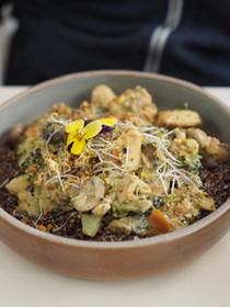 Detox Quinoa salad with white bean chili and green goddess