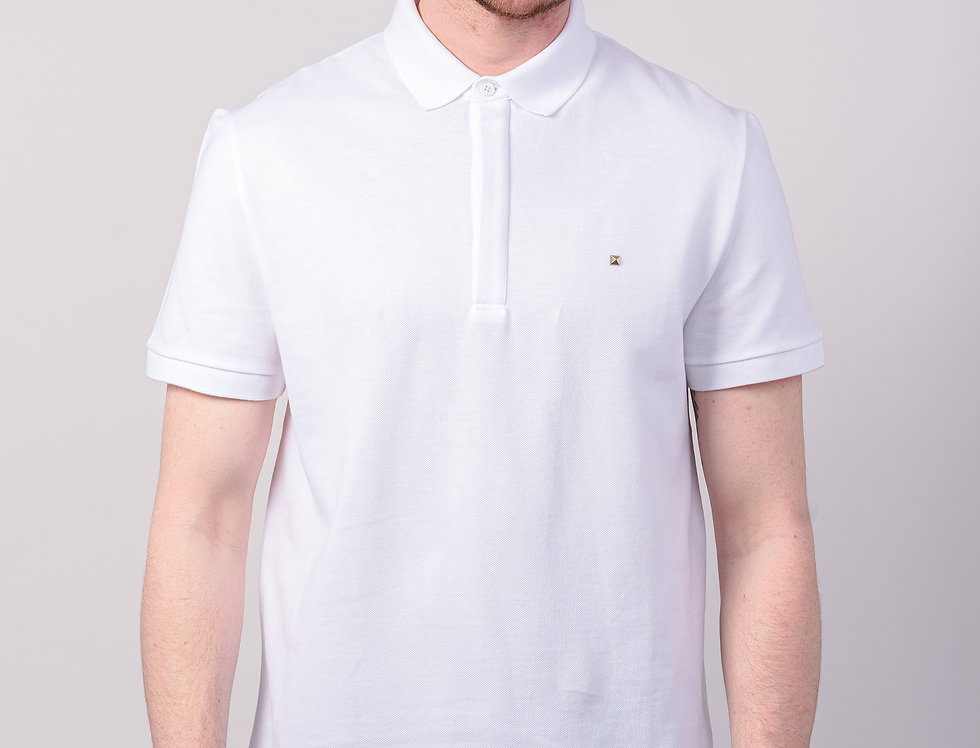 Valentino Rockstud Polo In White front view