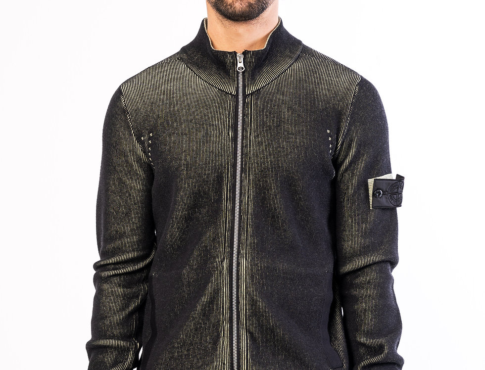 Stone Island Shadow Project Zipped chunky knit In Two Colour Effect