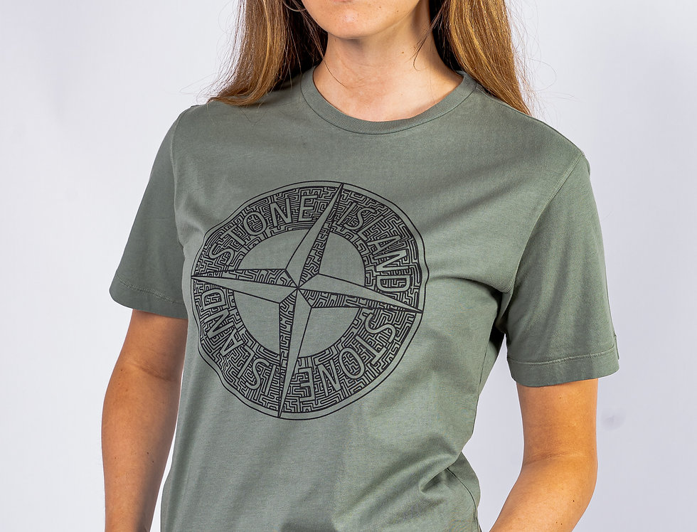 Stone Island Junior Graphic T-Shirt In Khaki front view