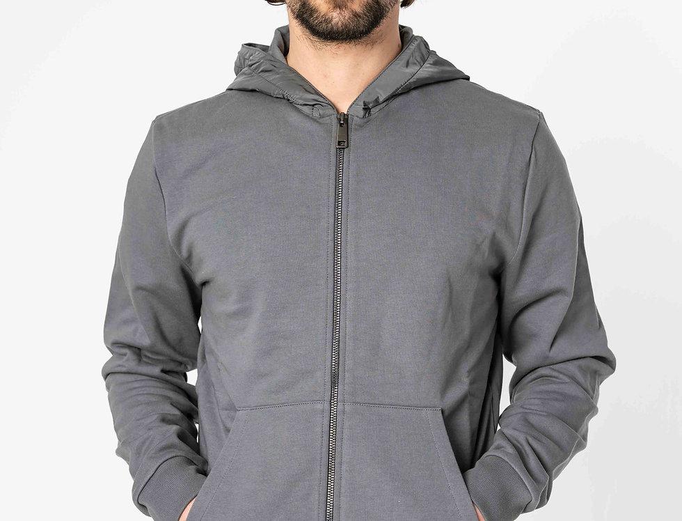 Prada Tracksuit Hoodie With Nylon Hood In Slate Grey