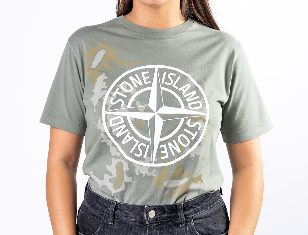 Stone Island Junior Camo Graphic T-Shirt In Green front view