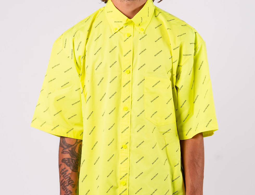 Balenciaga Oversized Shirt In Yellow front view