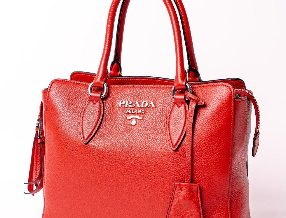 Prada Borsa A Mano Vitello In Red front view