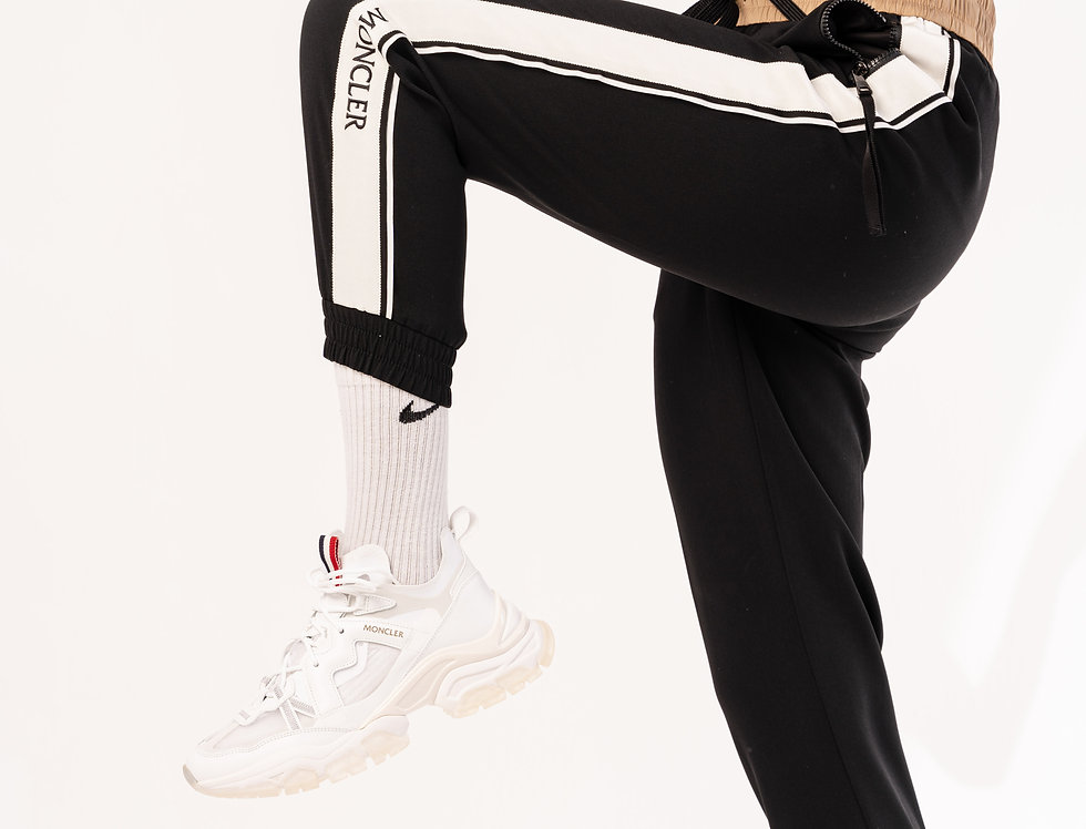 Moncler Striped Trousers In Black & White