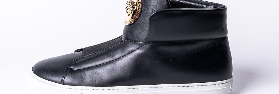 Versace Black Hightop Trainer side view