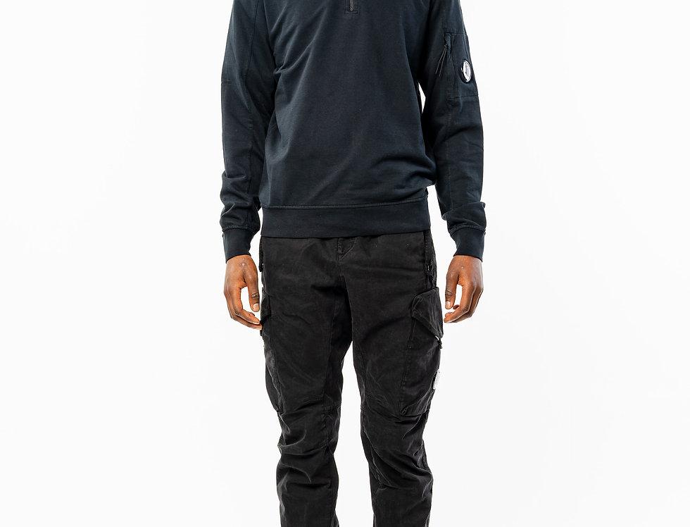 C.P. Company Zip Neck Sweatshirt In Navy front view