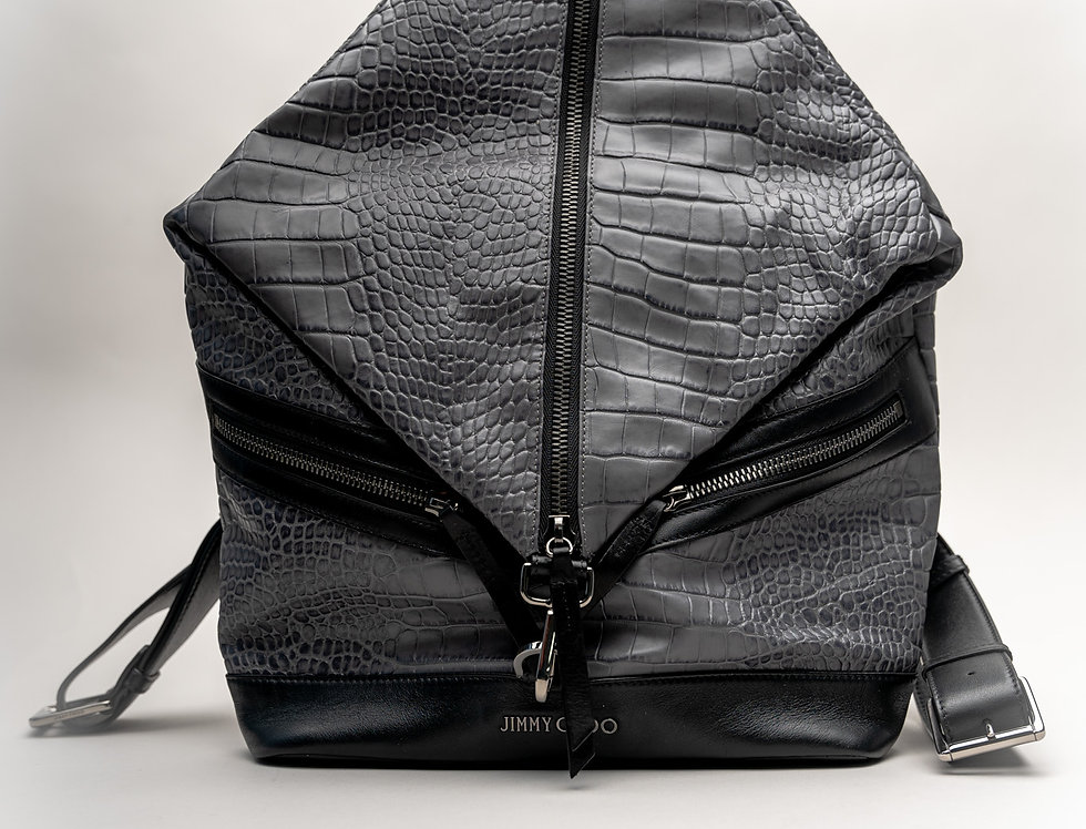 Jimmy Choo Men's Fitzroy Backpack In Dark Grey Moc Croc Leather