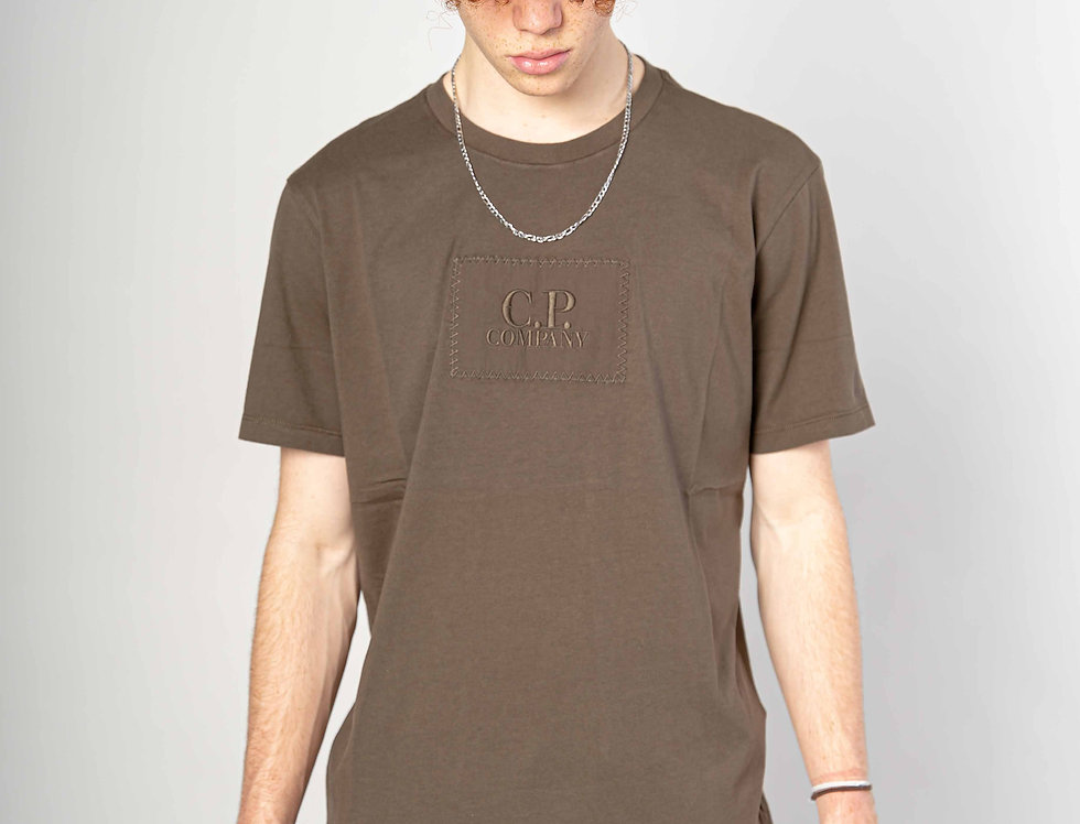 C.P. Company SS21 Jersey 30/1 Label Logo T-shirt in Ivy Green