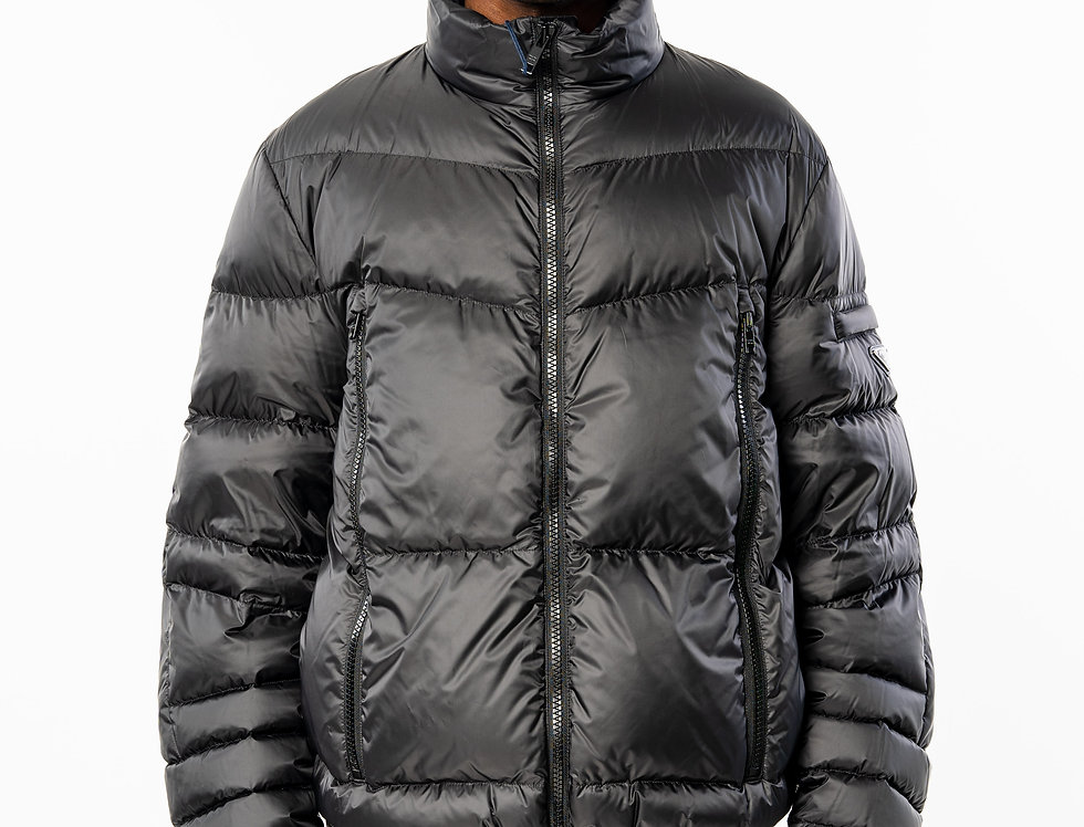 Prada Technical eggshell fabric puffer jacket front view