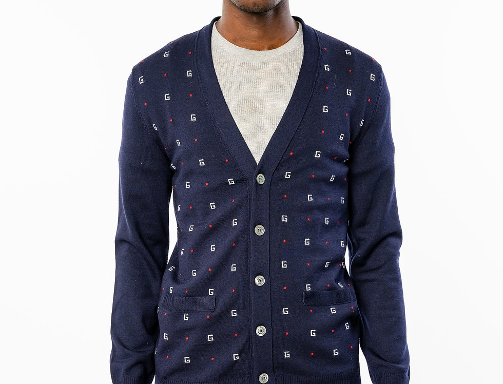Gucci Slim Fit Logo Jacquard Wool Cardigan
