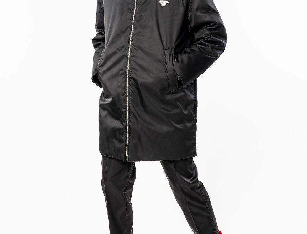 Prada Logo-Appliquéd Nylon-Gabardine Long Jacket full view