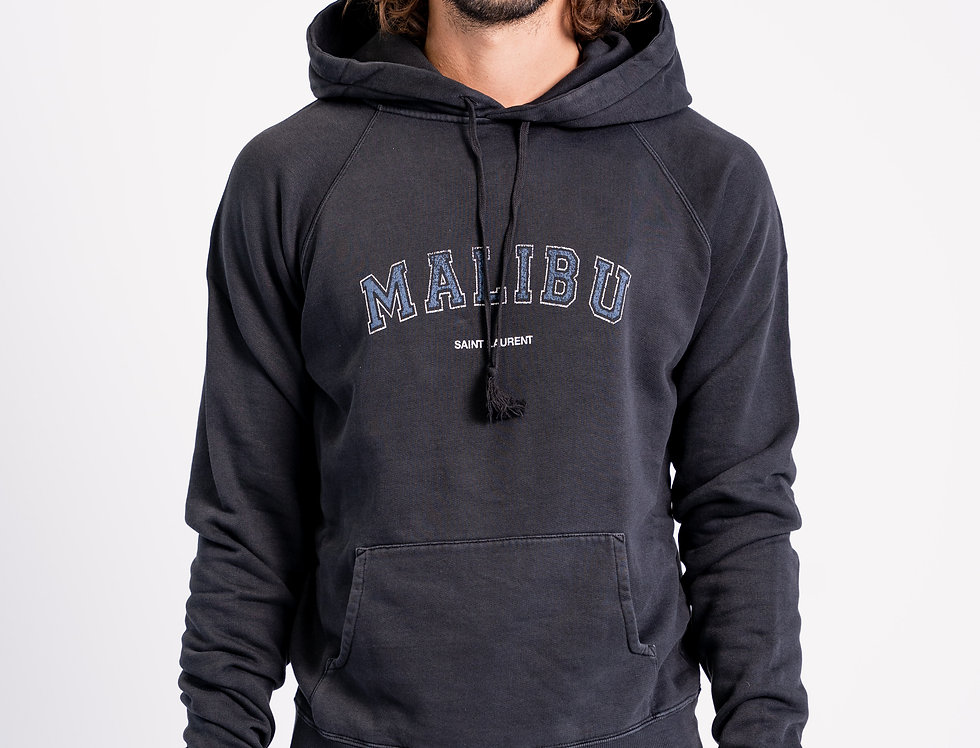 Saint Laurent Paris - Mens Hooded Sweatshirt In Navy