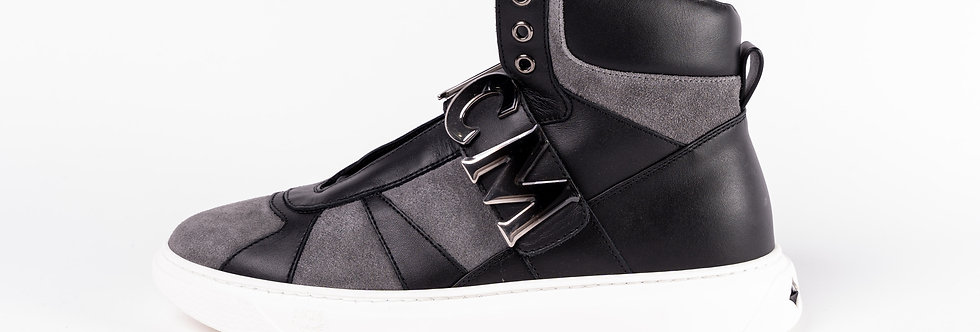 MCM High Top Trainers In Black side view