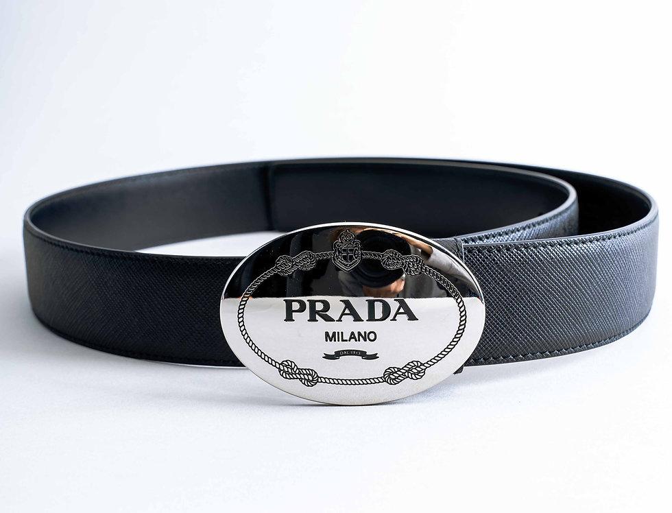 Prada Large Buckle Belt With Black Detailing