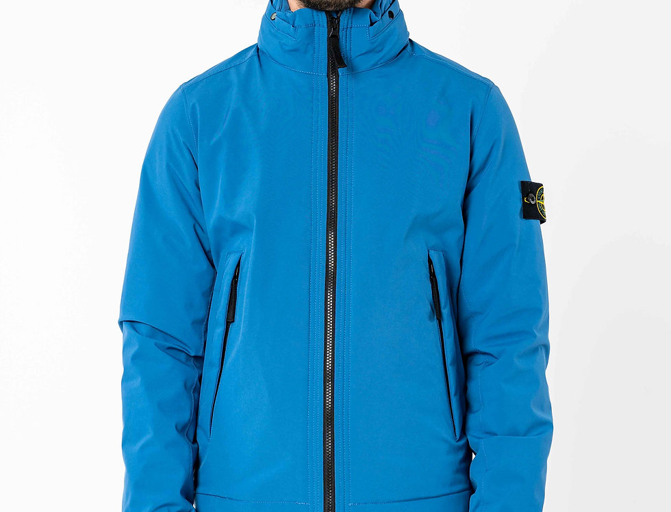 Stone Island Soft Shell-R With Primaloft Insulation Jacket In Perwinkle Blue