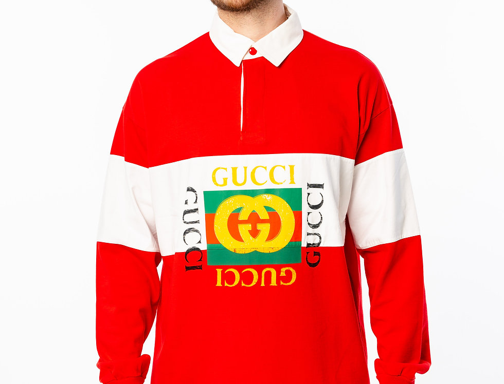 Gucci Rugby Logo Polo Shirt In Red