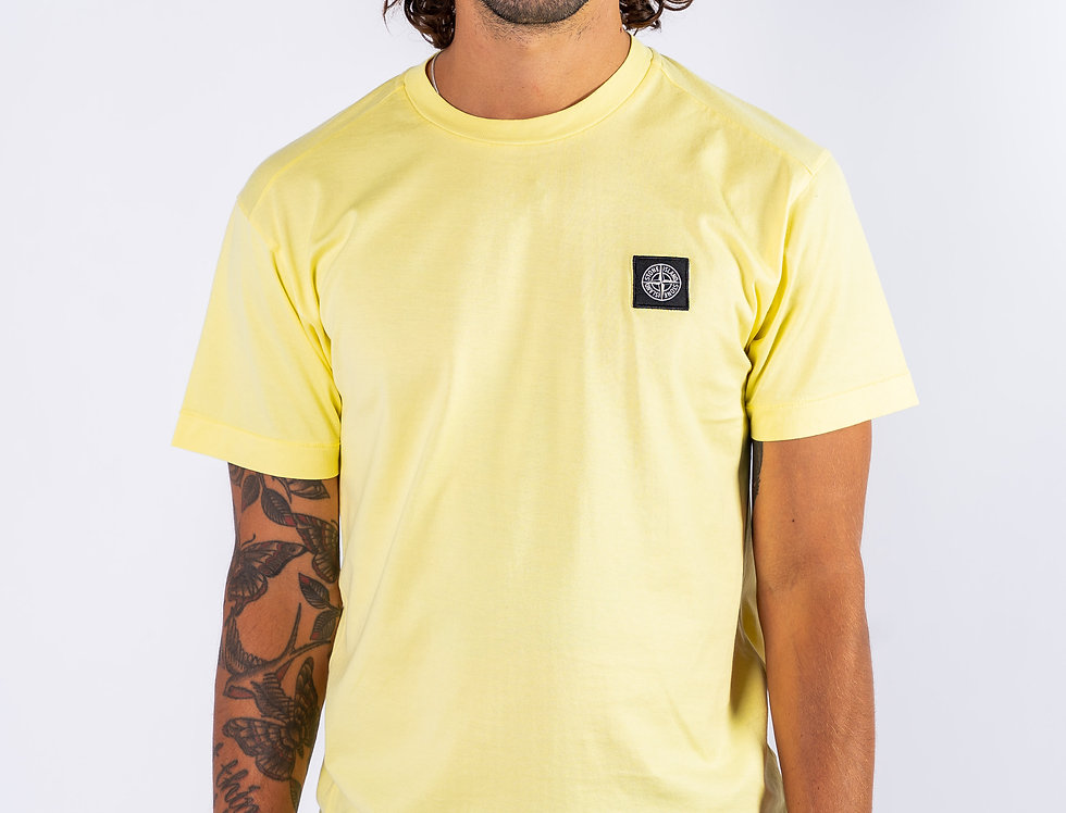 Stone Island SS20 Yellow Compass Patch T-Shirt front view
