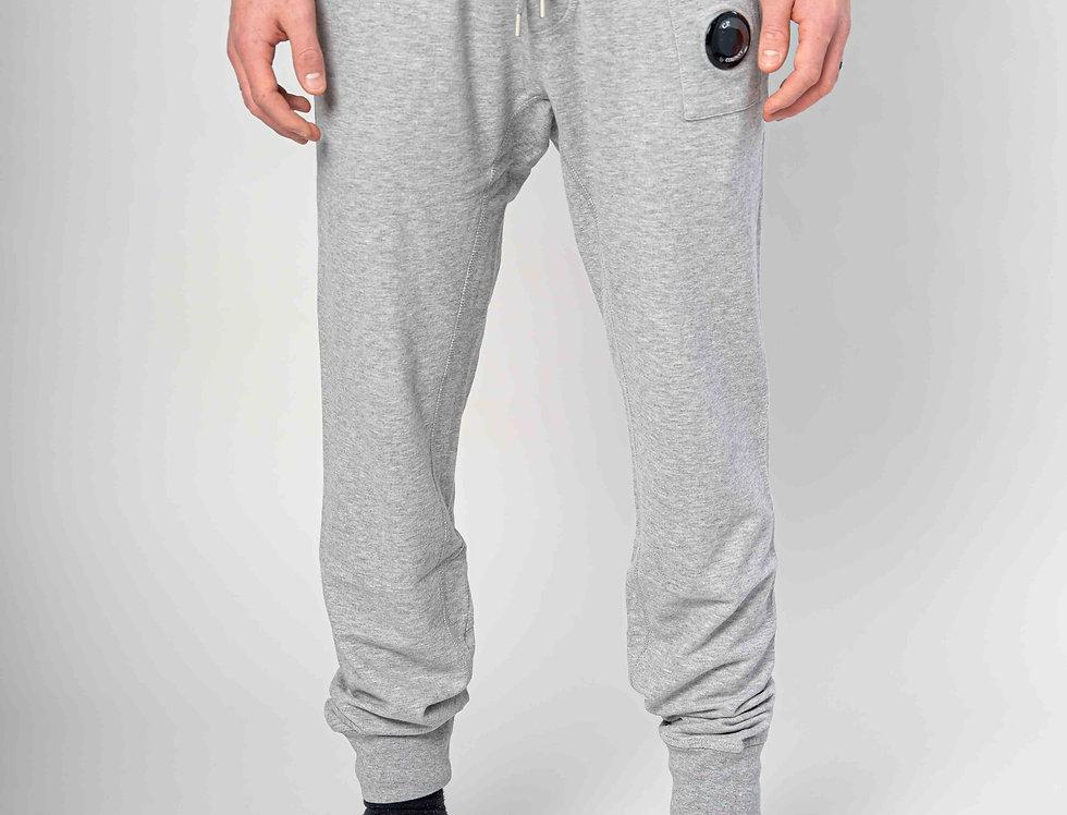 C.P. Company SS21 Light Fleece Garment Dyed Sweatpants in Grey Melange
