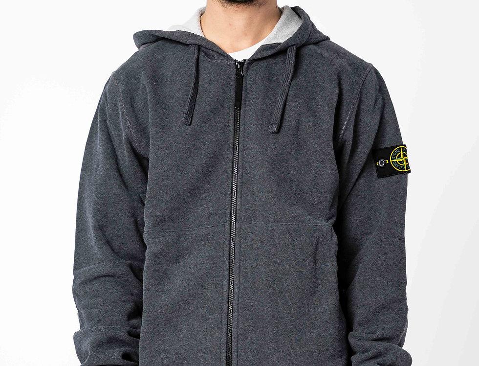 Stone Island Zip Hoodie In Dark Grey
