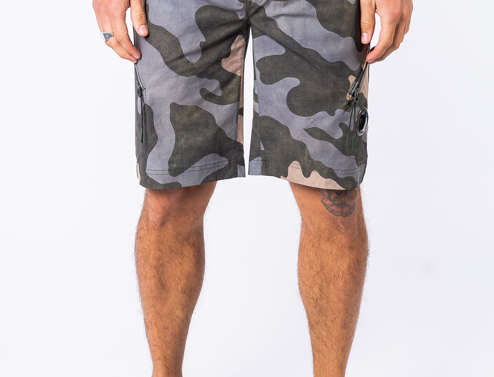 C.P. Company Jogger Shorts In Camo front view