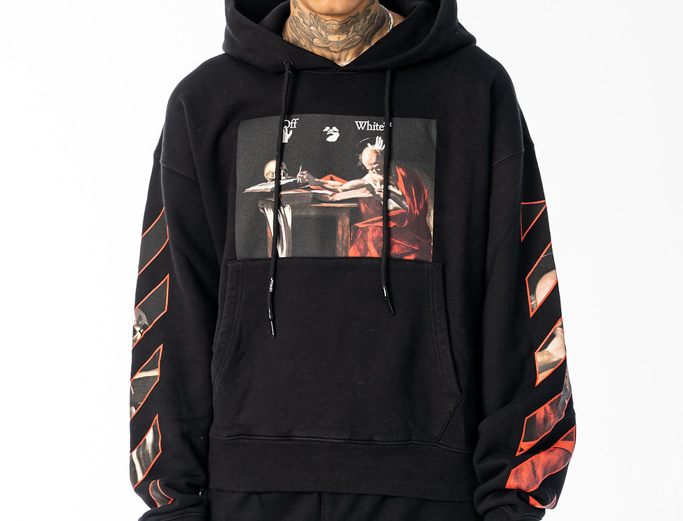Off-White Caravaggio Hoodie In Black And Red