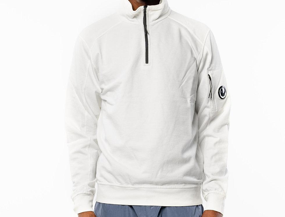 C.P. Company Zip Neck Sweatshirt In White front view