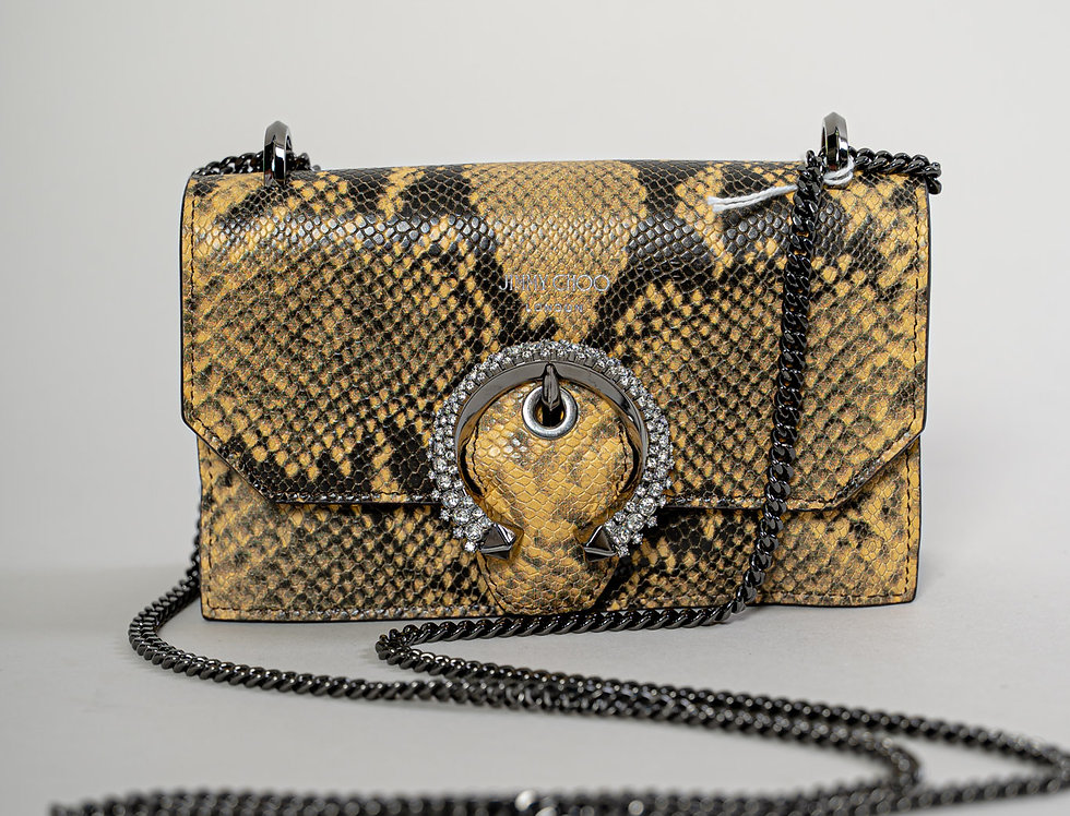 Jimmy Choo Paris Bag in Tan Snake Print