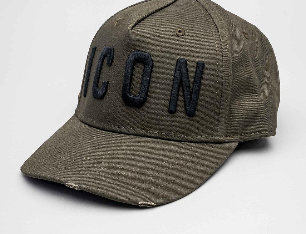 "Dsquared2 ""ICON"" Cap In Dark Olive"