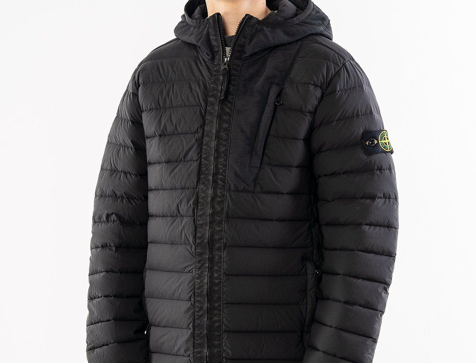 Stone Island Junior Black Down Jacket With Hood