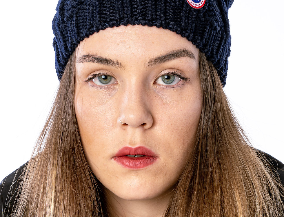 Canada Goose Chunky Cable Knit Beanie In Navy