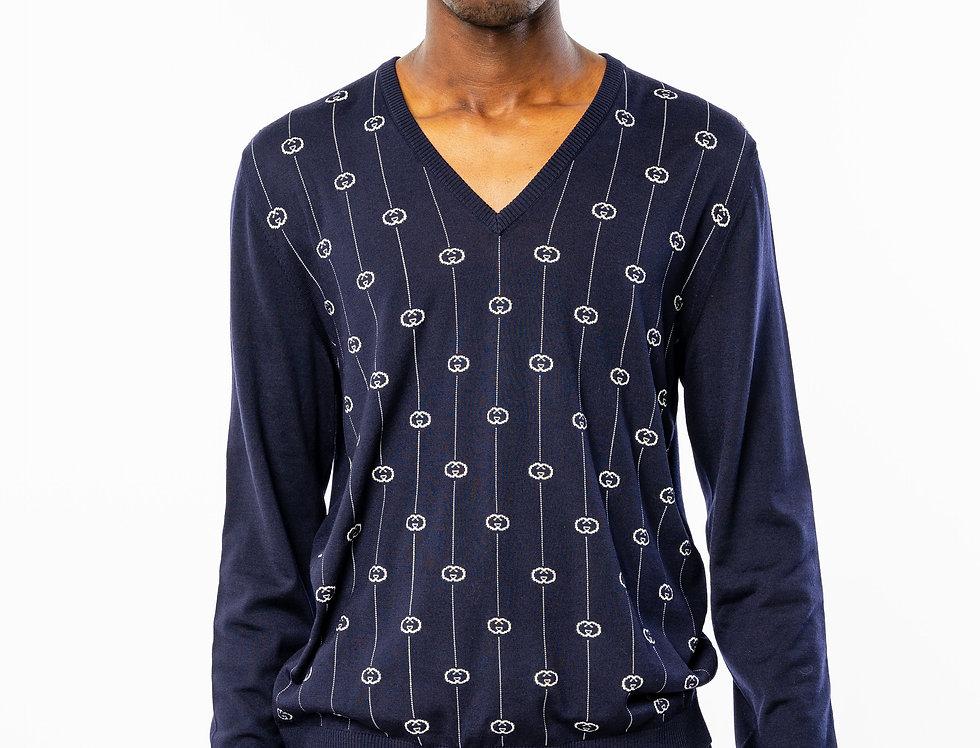Gucci G Stripe Navy V-Neck Sweater