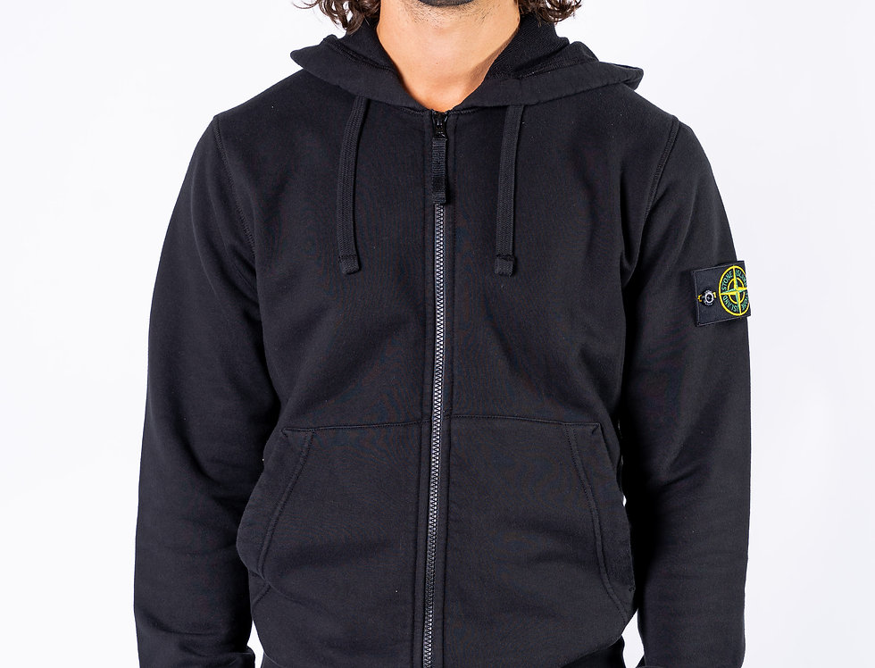 Stone Island SS20 Black Zipped Sweatshirt front view
