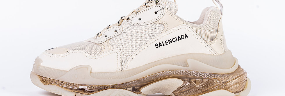 Balenciaga Triple S Trainers In White and Beige side view