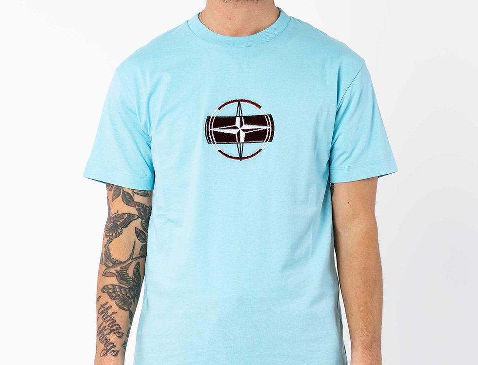 Stone Island Velour Compass T-shirt In Light Blue