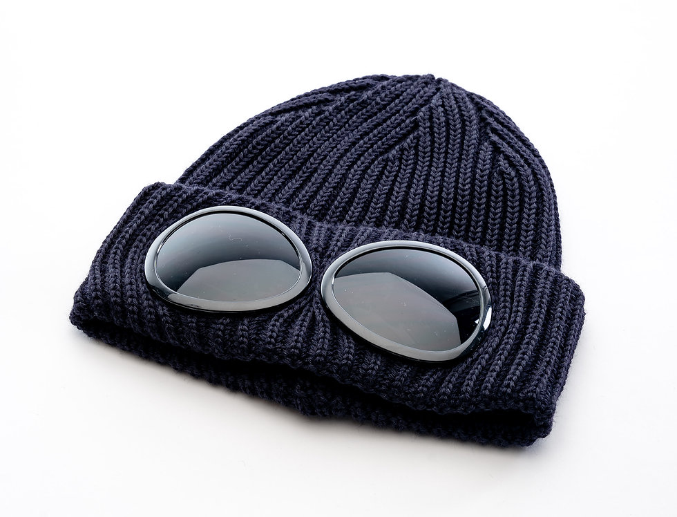 C.P. Company AW20 Goggle Knit Hat In Navy