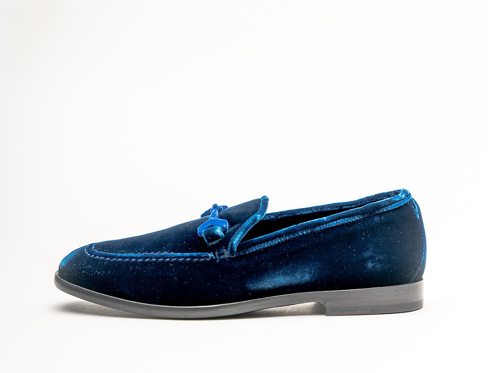 Jimmy Choo Marti Loafers In Navy Crushed Velvet